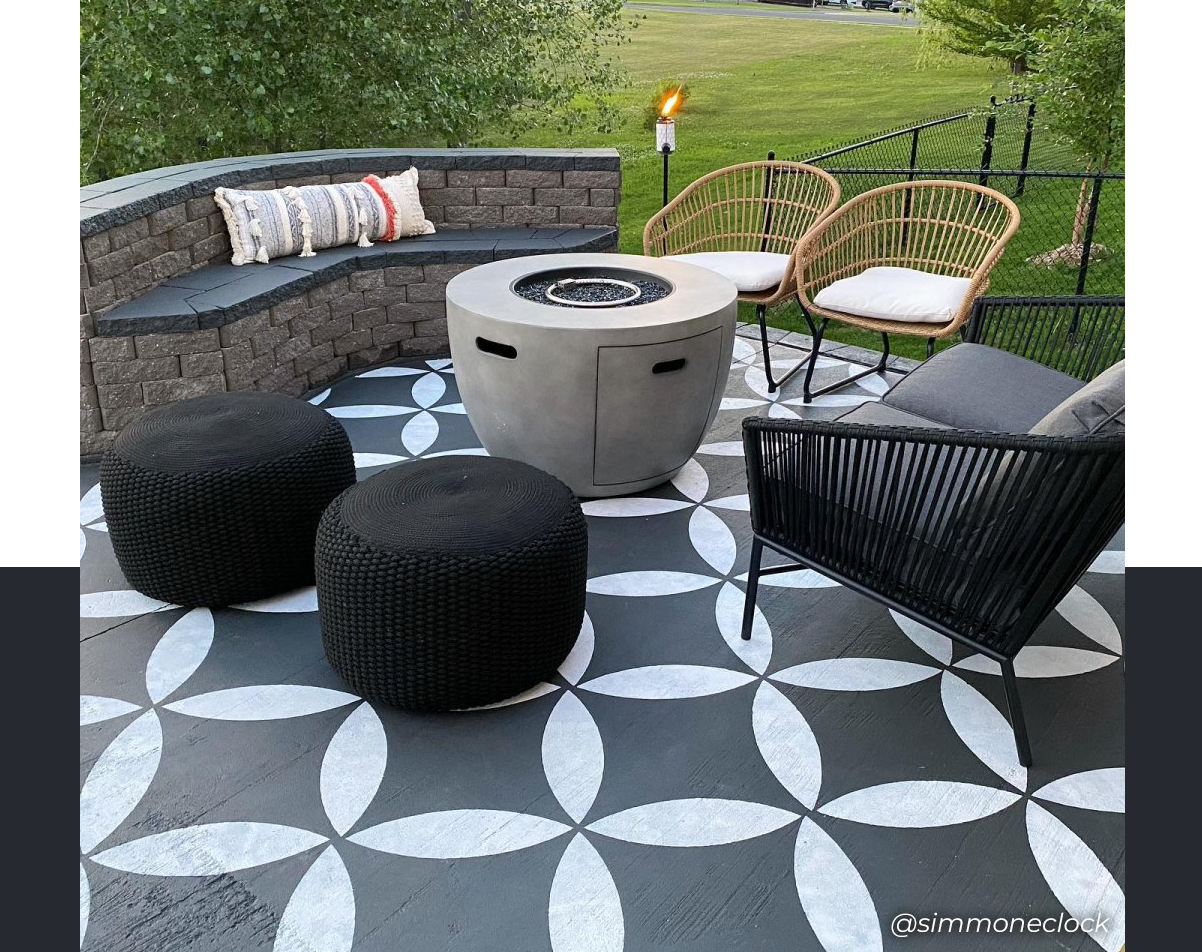 Image of a patio painted with stencils.