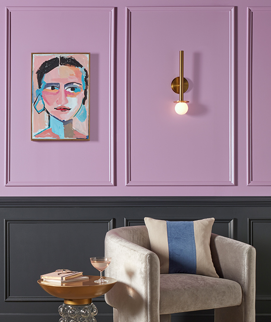 a living room painted in Novel Lilac