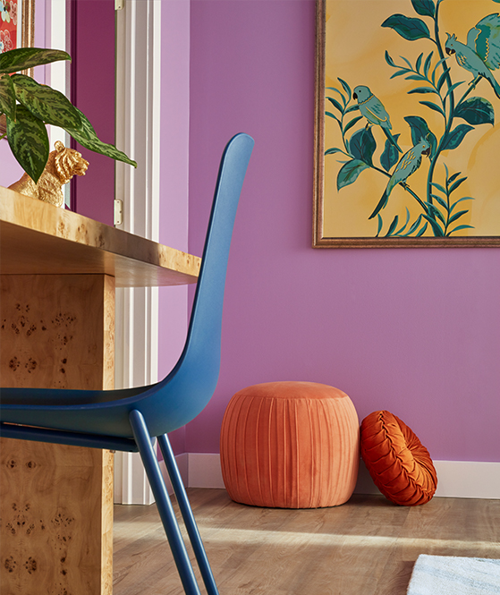 Image of a home office that has been painted in Novel Lilac